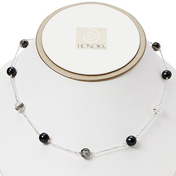 Honora Potato Pearl & Black Rutile Vitality Necklace