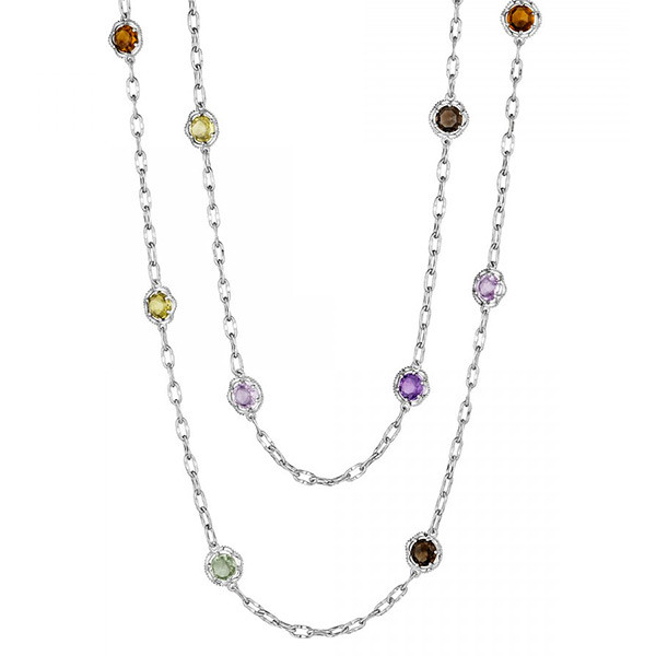 Tacori 18K925 Sterling Silver Station Necklace with Mixed Gemstones