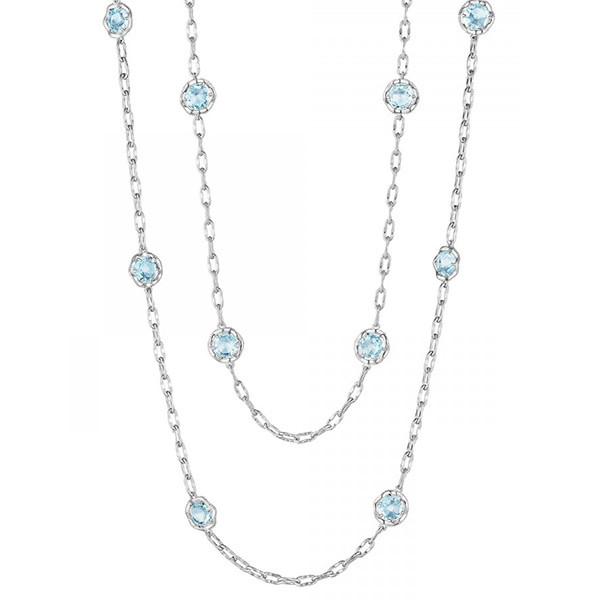 "Tacori 18K925 Chain Necklace with Sky Blue Topaz Stones 38"""
