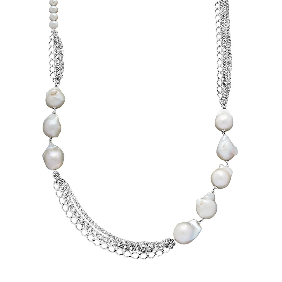 Honora Curb Appeal White Pearl Silver Chain Station Necklace