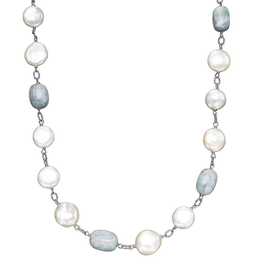 Honora White Coin Pearl & Aquamarine Solstice Station Necklace
