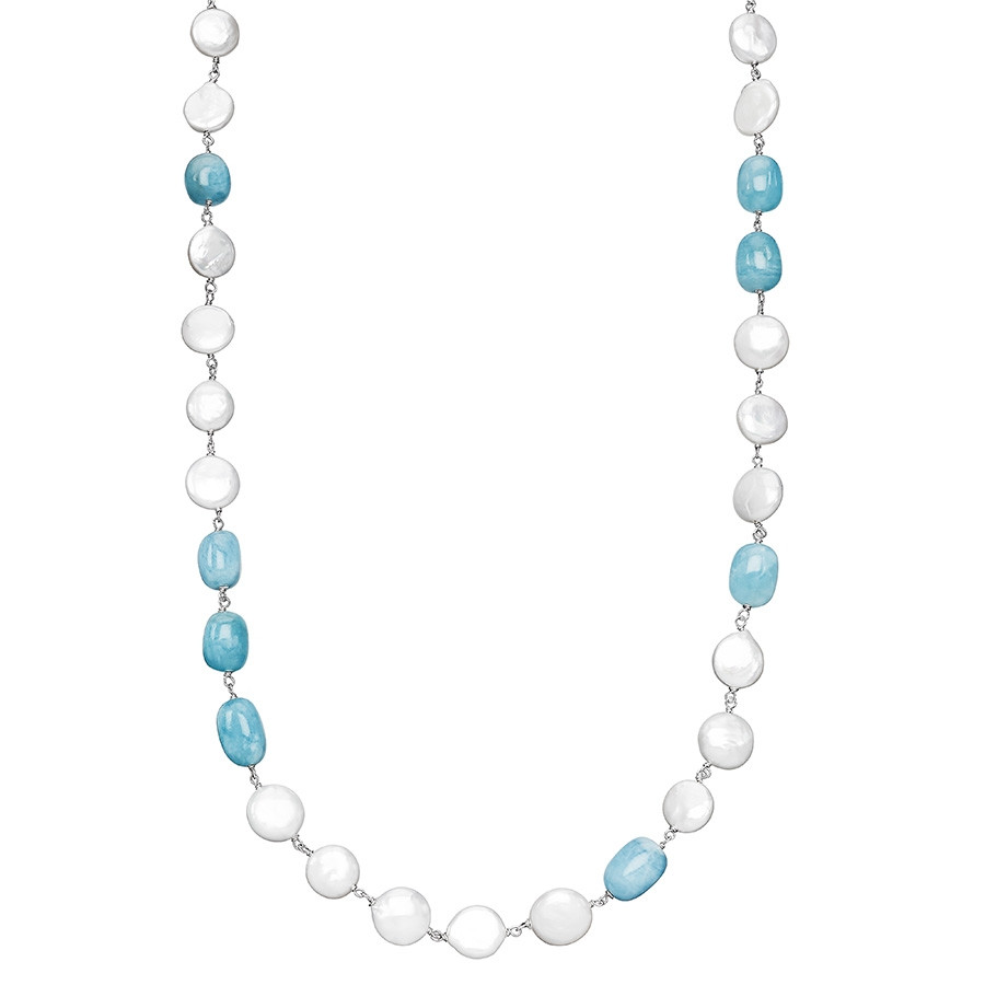 "Honora Aquamarine & White Coin Pearl Solstice Station 36"" Necklace"