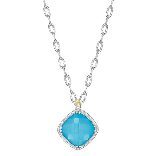 Tacori 18K925 Barbados Blue Clear Quartz over Neolite Turquoise Small Necklace
