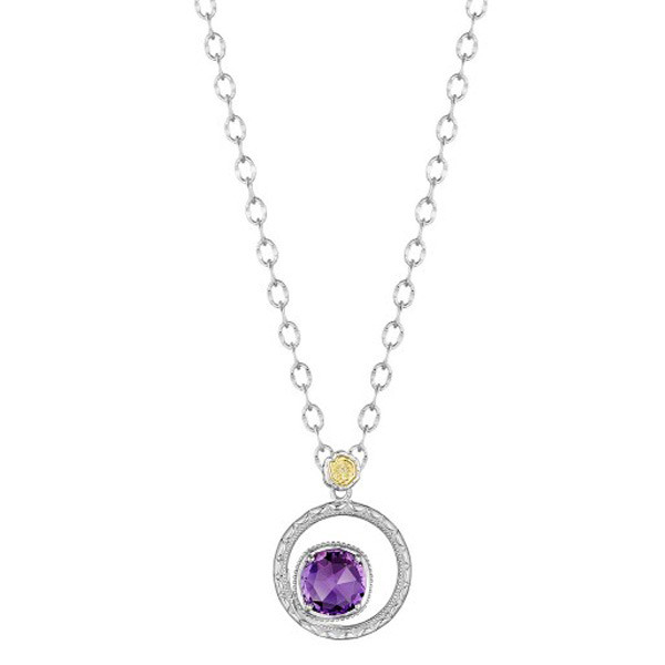 Tacori 18K925 Lilac Blossoms 7mm Purple Amethyst Circle Pendant