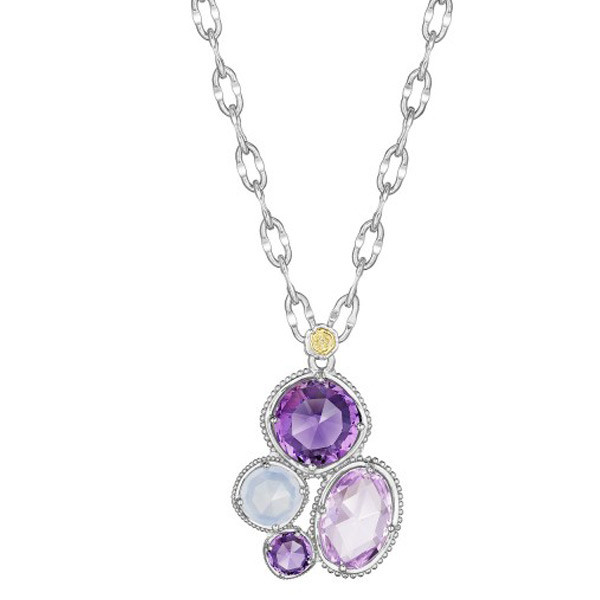 Tacori 18K925  Rose Amethyst, White Chalcedony, & Purple Amethyst Pendant on Silver Necklace 16""