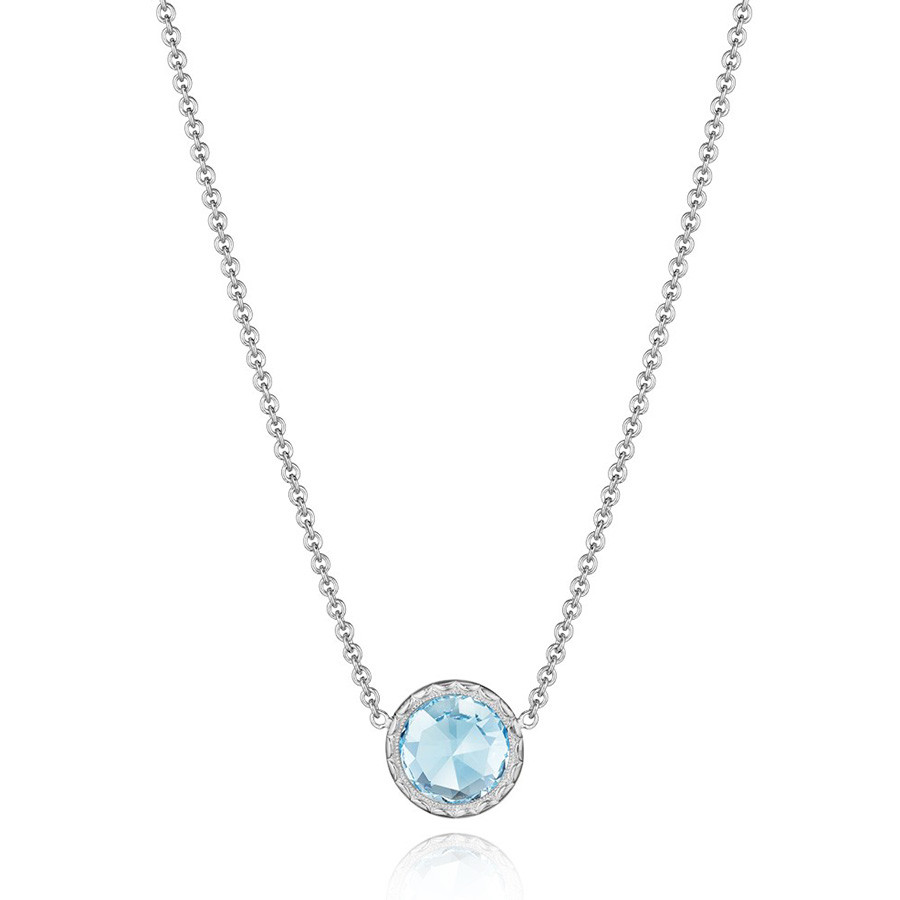 Tacori Sky Blue Topaz Floating Bezel Pendant Island Rains Necklace