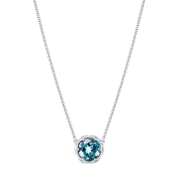 Tacori Round London Blue Pendant Station Necklace