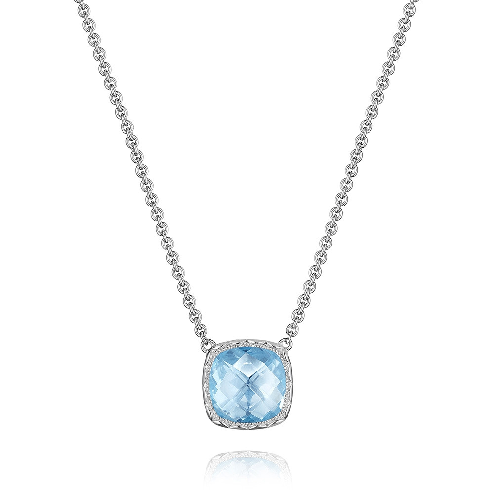 Tacori Sky Blue Topaz Cushion Crescent Embrace Pendant Necklace
