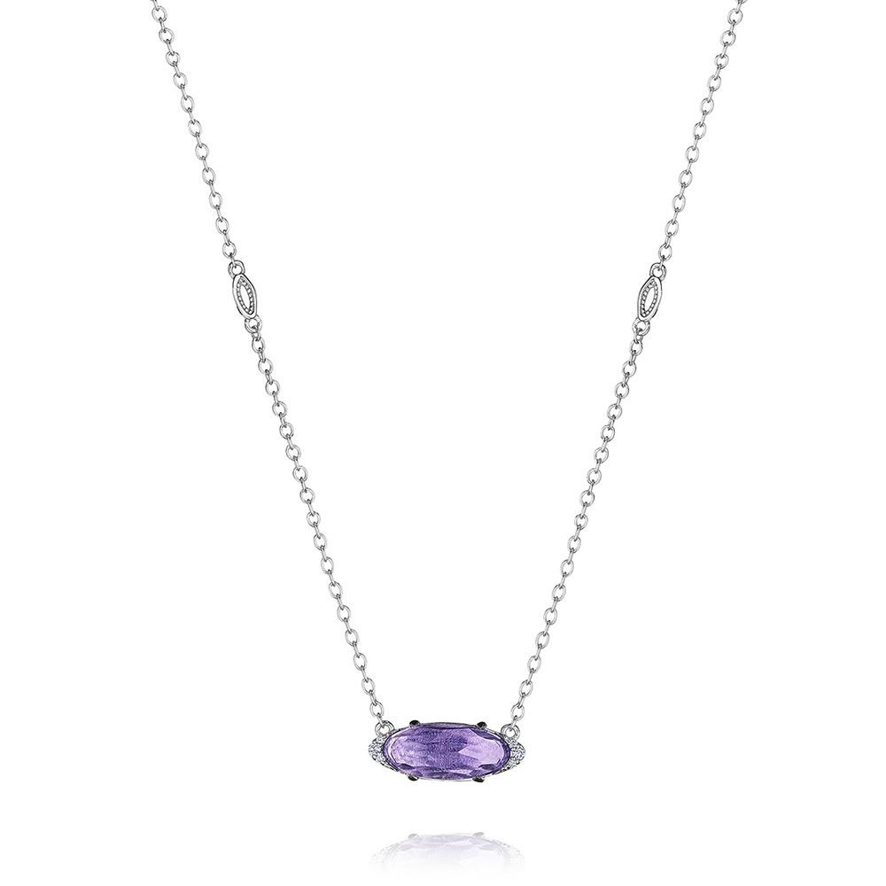 Tacori Oval Amethyst & Diamond Horizon Shine Pendant Necklace