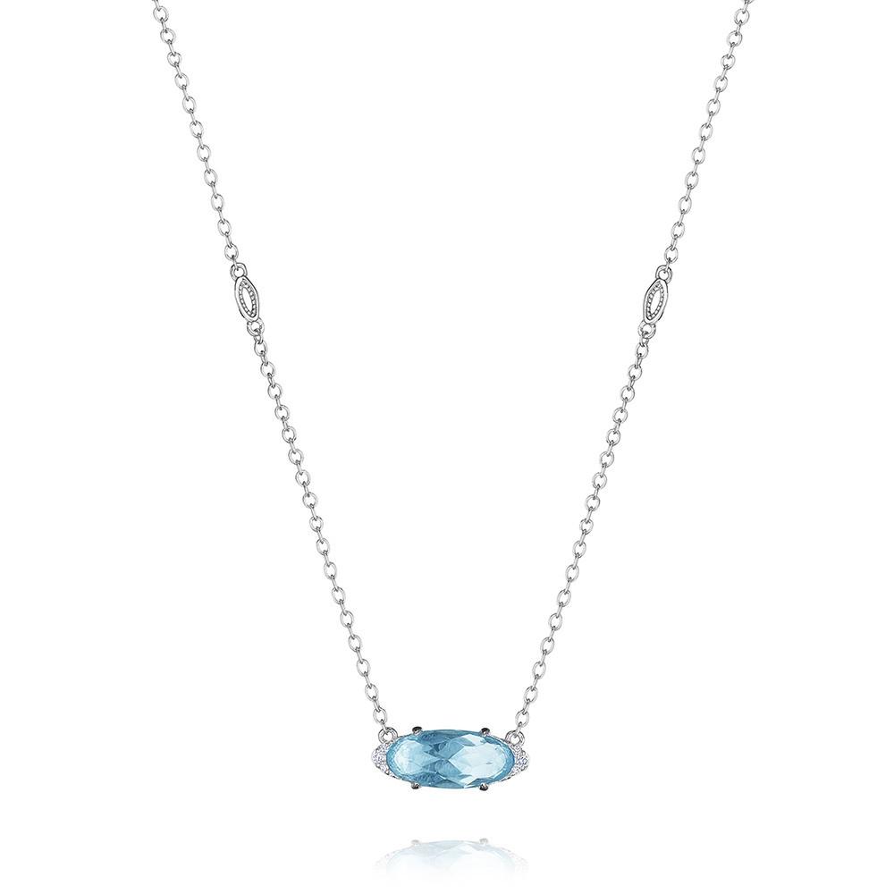 Tacori Sky Blue Topaz & Diamond Horizon Shine Oval Pendant Necklace