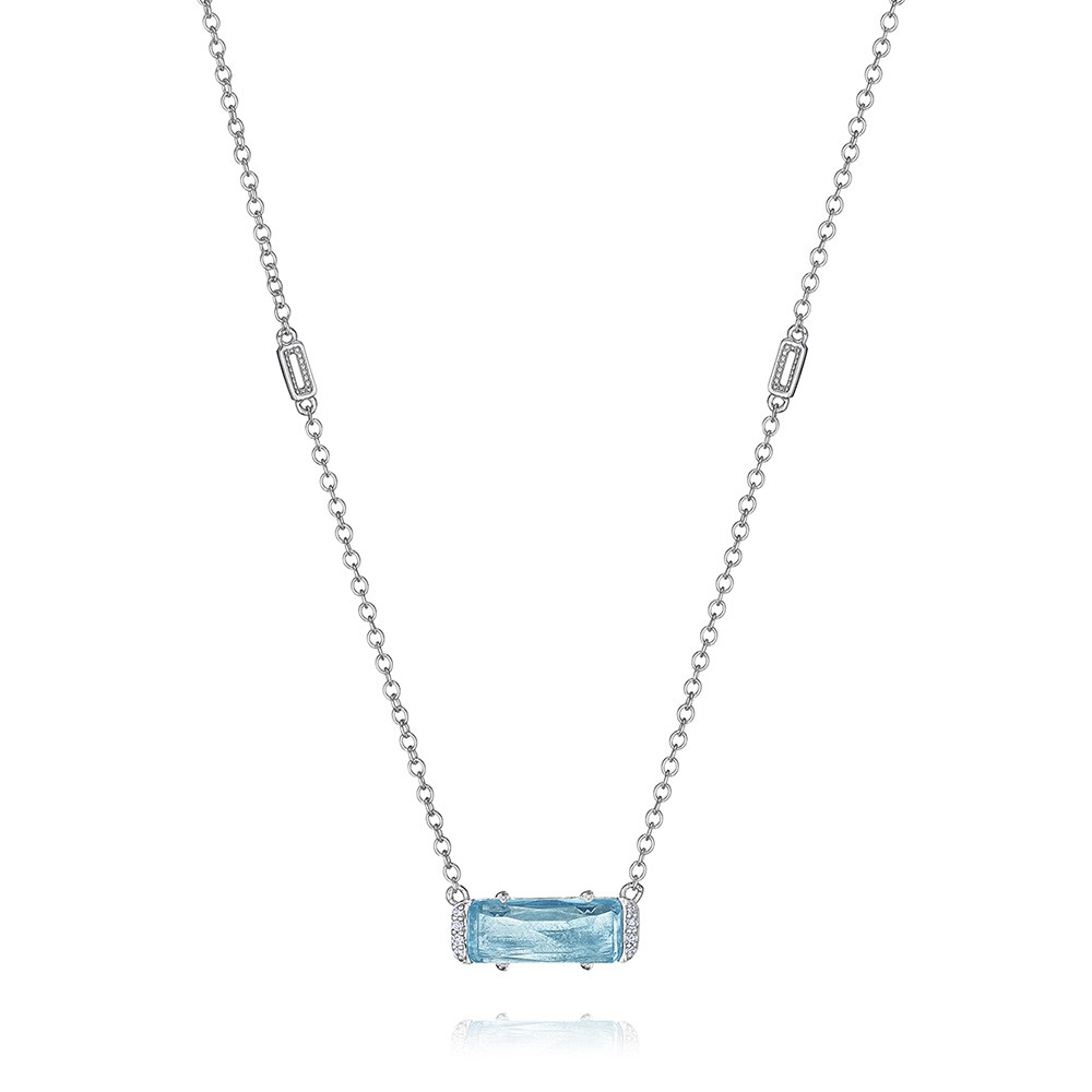 Tacori Sky Blue Topaz Emerald & Diamond Horizon Shine Pendant Necklace