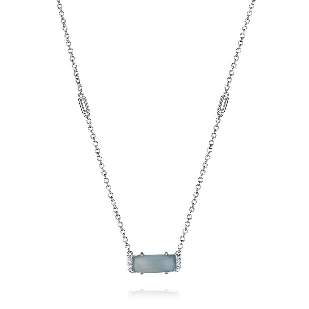 Tacori Sea Green Chalcedony & Diamond Horizon Shine Emerald Pendant Necklace
