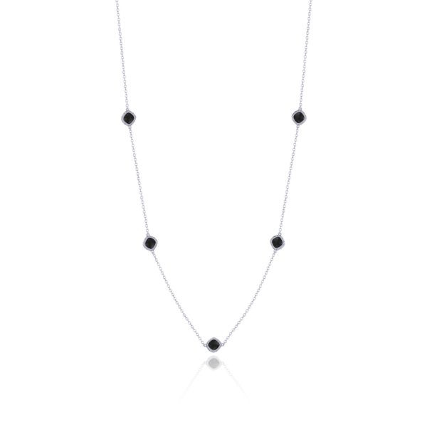 Tacori Crescent Embrace Black Onyx Station Necklace in Sterling Silver