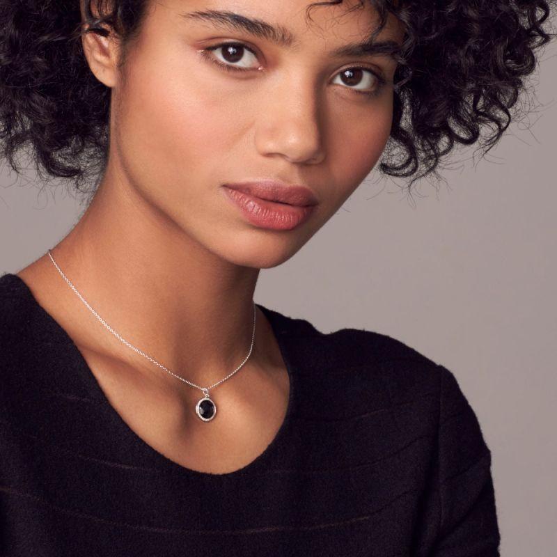 IPPOLITA Silver Lollipop Hematite and Diamond Necklace on model