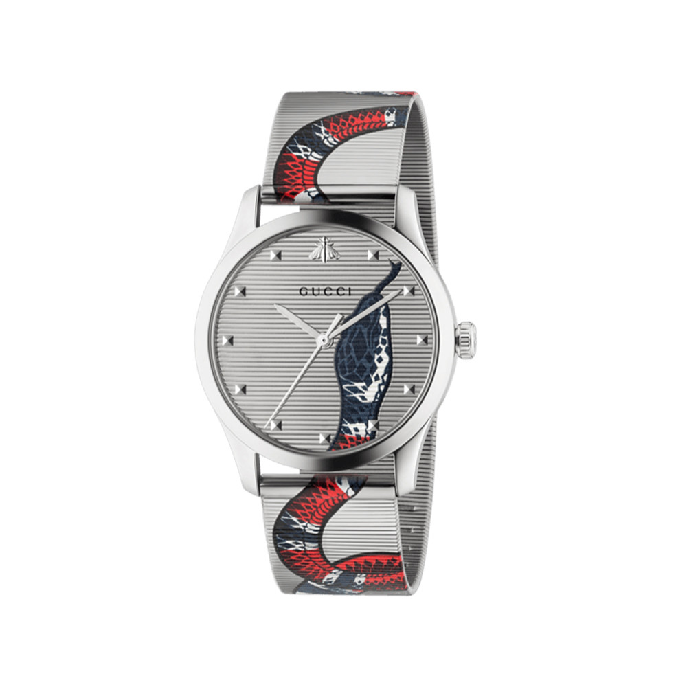 Gucci G-Timeless 38mm Stainless Steel Snake Watch ANGLE