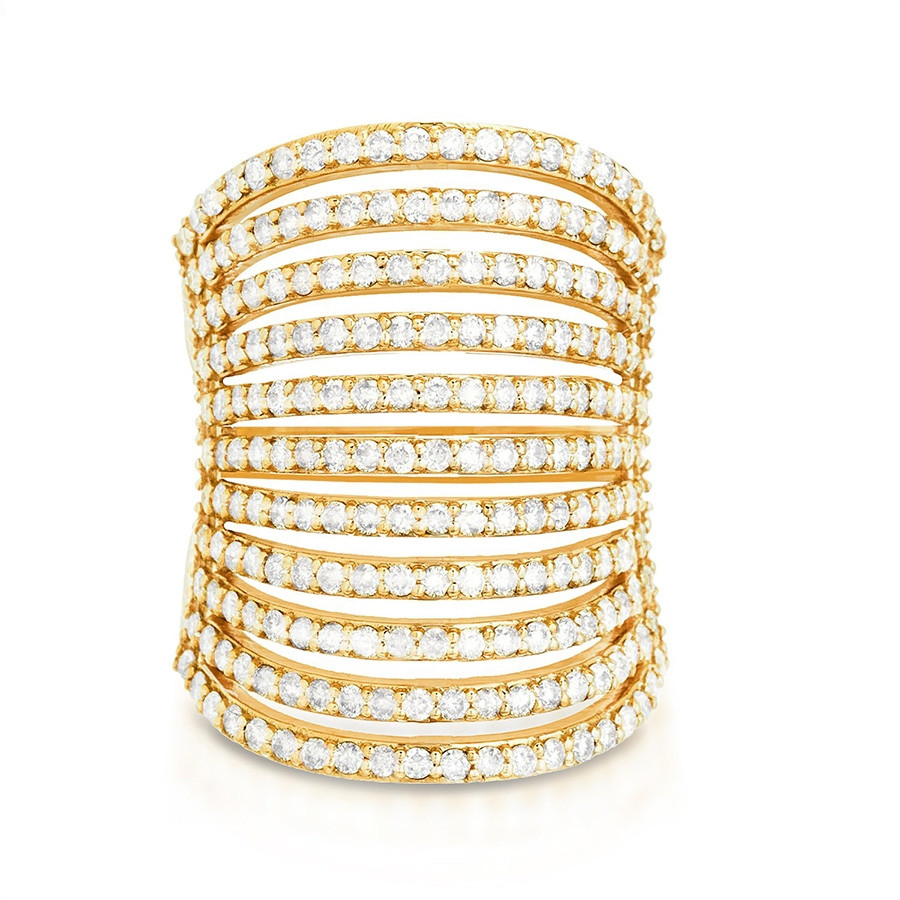 Carbon & Hyde Wide Yellow Gold Pave Diamond Spine Ring