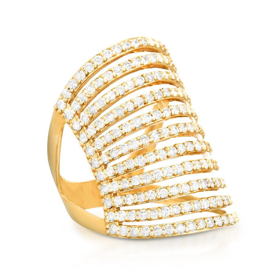Carbon & Hyde Wide Yellow Gold Pave Diamond Spine Ring Side View