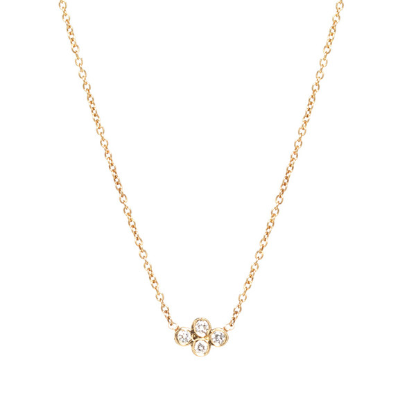 Zoe Chicco Diamond Horizontal Quad Yellow Gold Necklace