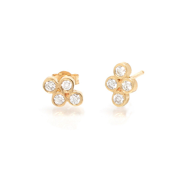 Zoe Chicco Small Yellow Gold Quad Diamond Studs