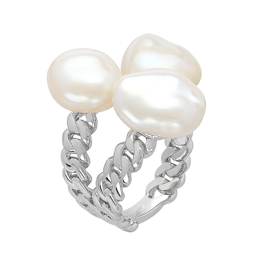 Honora Curb Appeal Triple White Pearl Open Ring