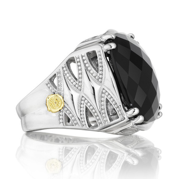 Tacori 18K925 Silver Black Onyx Classic Rock Ring
