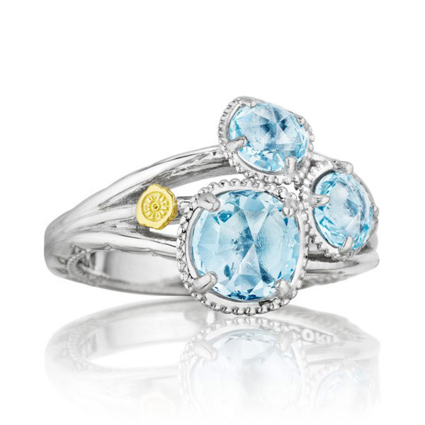 Tacori 18K925 Triple Stone Sky Blue Topaz Ring in Sterling Silver