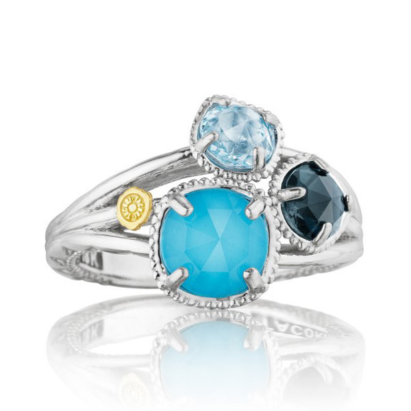 Tacori 18K925 Island Rains Small Neolite Turquoise, London & Sky Blue Topaz Ring