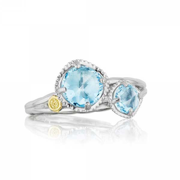 Tacori 18K925 Island Rains Sky Blue Topaz Two Stone Ring