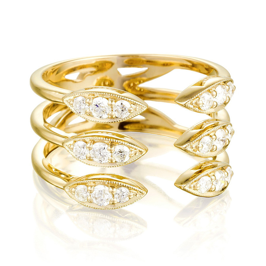 Tacori Yellow Gold Stacked Marquise Diamond The Ivy Lane Ring