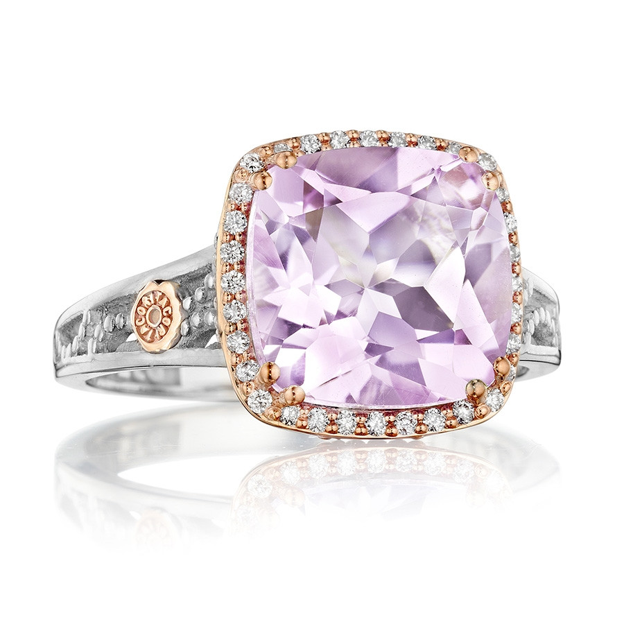 Tacori Rose Amethyst & Diamond Crescent Lilac Blossoms Cocktail Ring