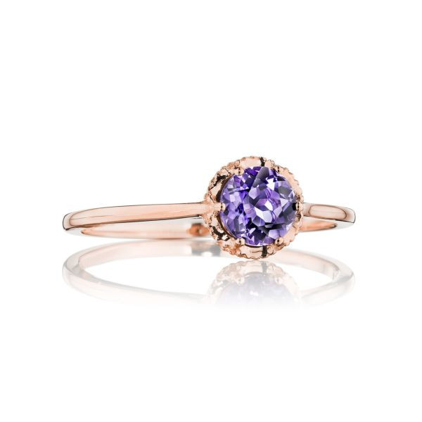 Tacori Crescent Crown Amethyst Ring in Rose Gold