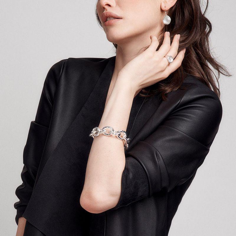 IPPOLITA Silver Lollipop Mini Pearl and Diamond Ring on model