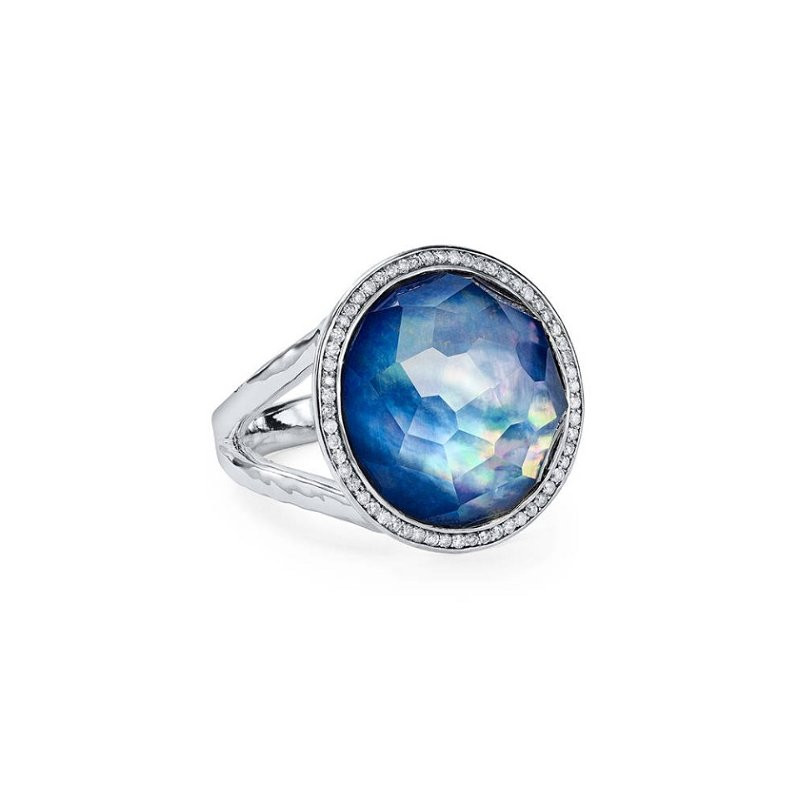 IPPOLITA Silver Lollipop Mini Lapis and Diamond Ring