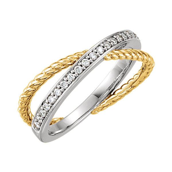 Two Tone Diamond Crossover Ring