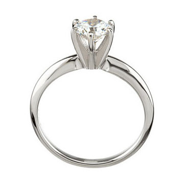 14kt White Gold Round 6-Prong Comfort-Fit Solitaire Setting Side View