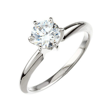 14kt White Gold Round 6-Prong Comfort-Fit Solitaire Setting