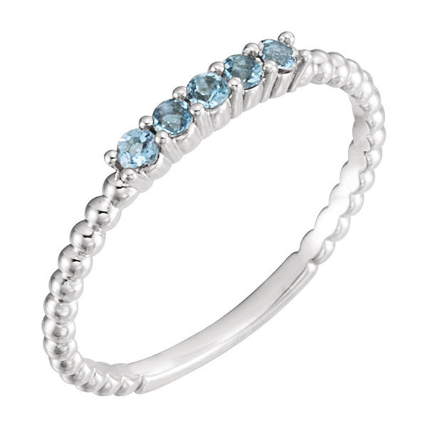 Aquamarine Stackable White Gold Ring