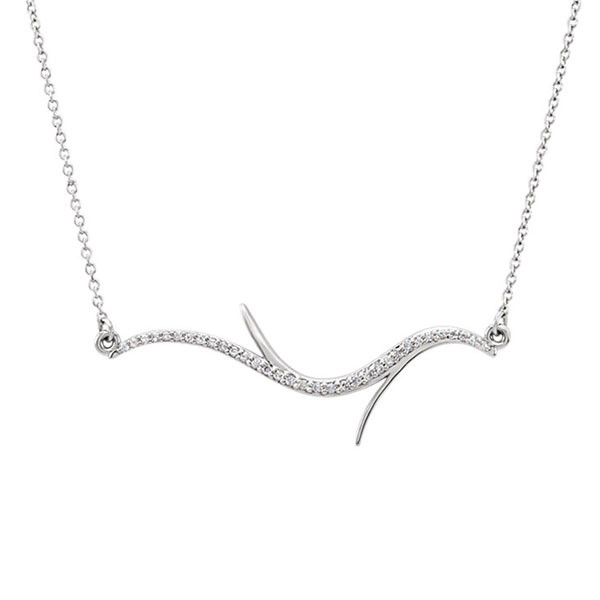White Gold Branch Necklace with Diamonds