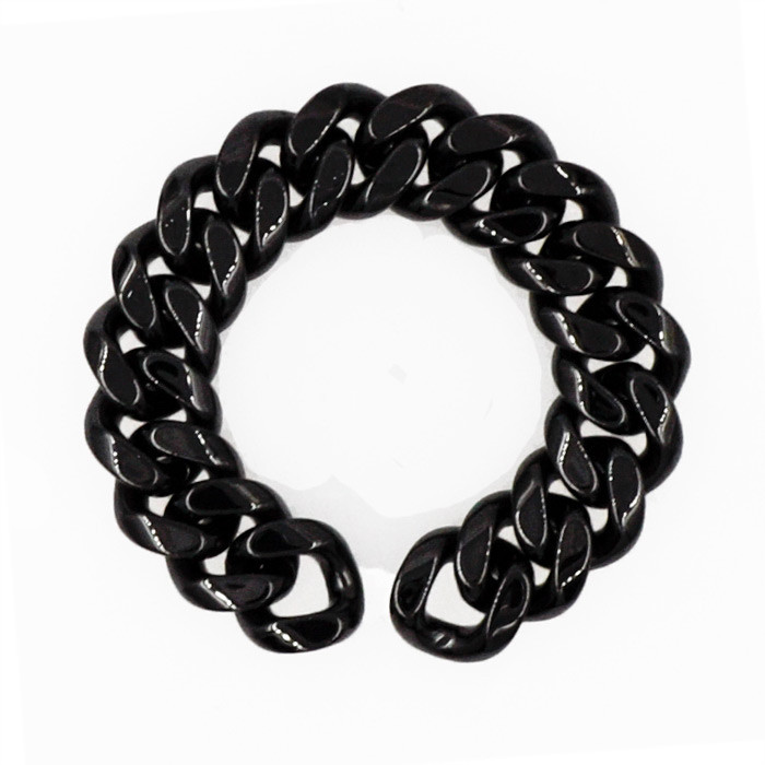 Stephen Webster Black Ceramic Cuban Link Wide Bracelet