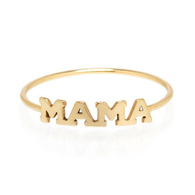 Zoe Chicco Itty Bitty Yellow Gold Mama Stackable Ring