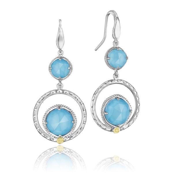 Tacori 18K925 Sterling Silver Drop Circle Earrings Clear Quartz Over Neolite Turquoise