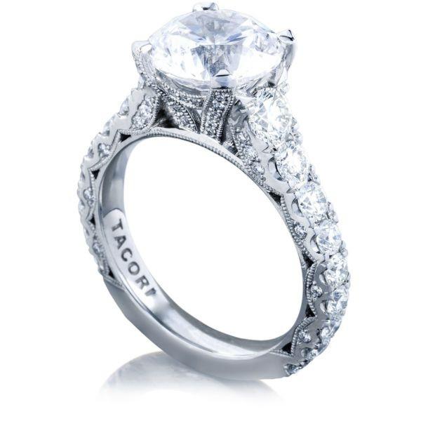 Tacori RoyalT Platinum Round Diamond Pavé Engagement Ring Setting angle view