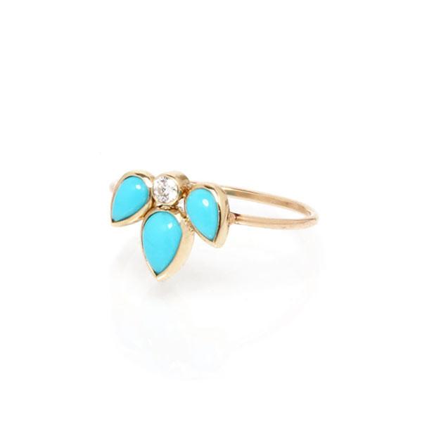 Zoe Chicco Turquoise Starburst Diamond Ring