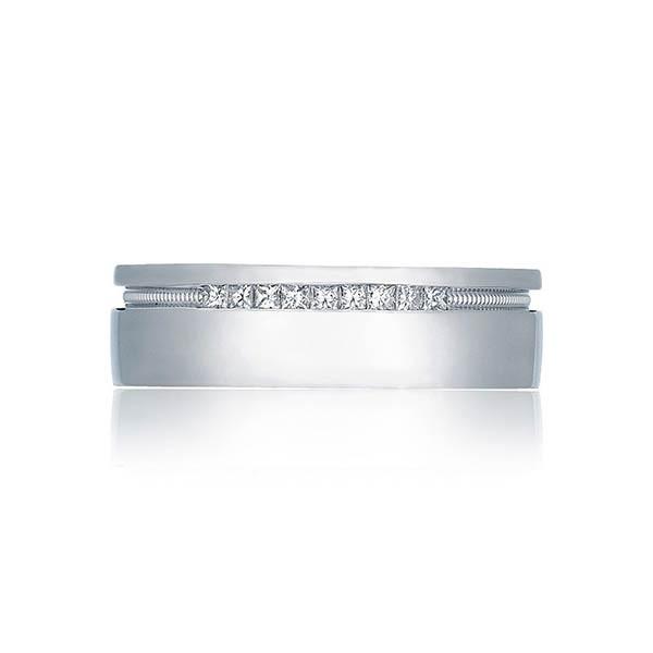 Tacori 2556PR Hand Engraved Princess Cut Men's Wedding Band