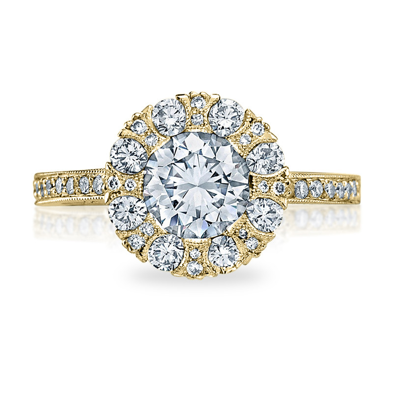 Tacori 2642RD6.5 Yellow Gold Bloom Engagement Ring Simply Tacori Setting Top View