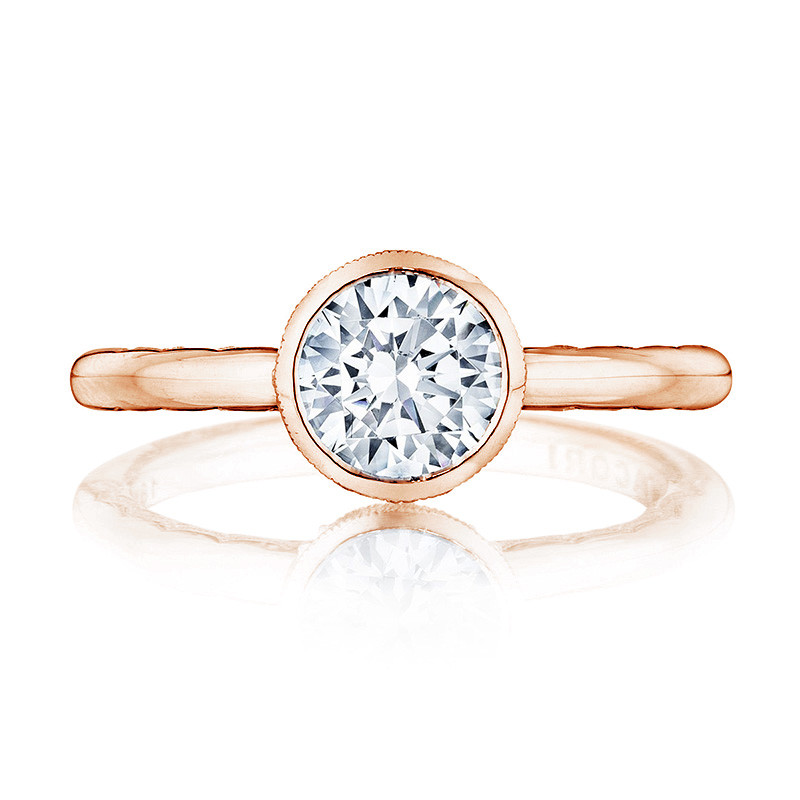 Tacori 300-2RD7.75 Rose Gold Bezel Set Engagement Ring Starlit Setting Top View