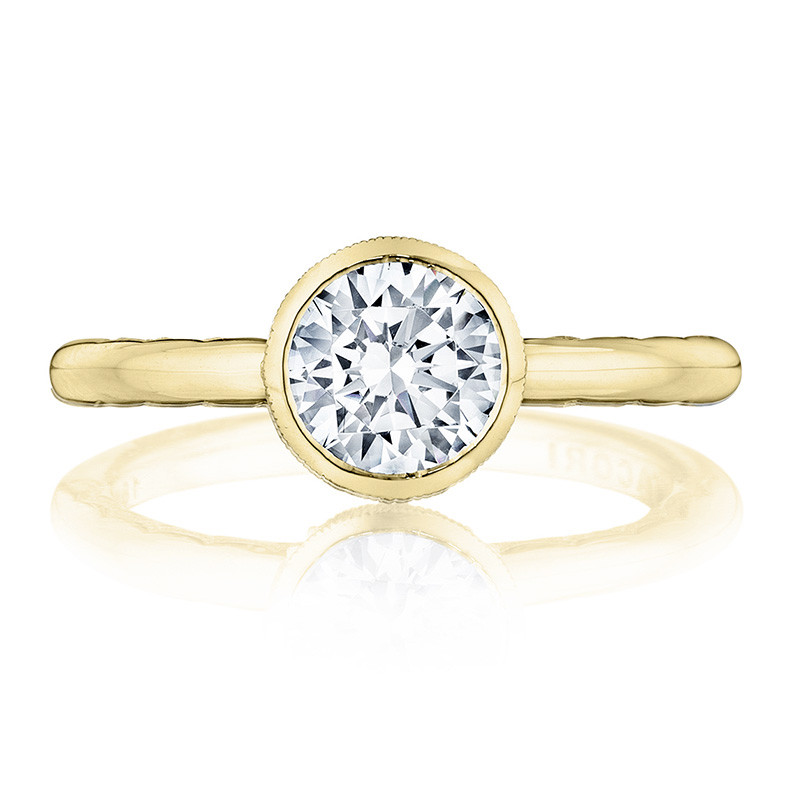 Tacori 300-2RD7 Yellow Gold Bezel Set Engagement Ring Starlit Setting Top View