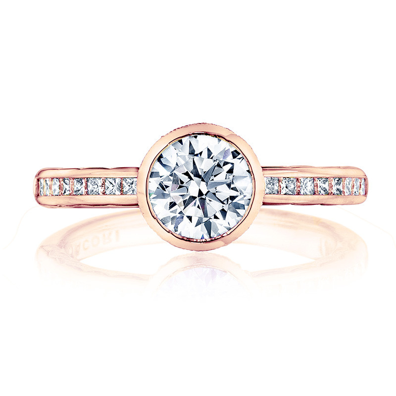 Tacori 301-25RD7-75 Channel Set Rose Gold Engagement Starlit Setting Top View