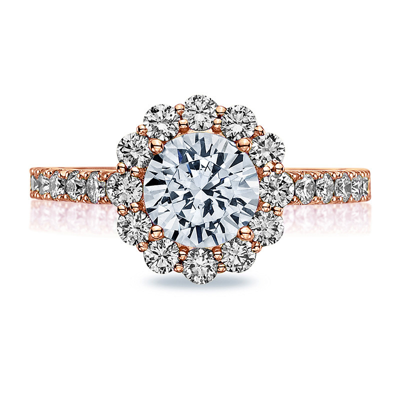 Tacori 37-2RD5 Diamond Half Way Rose Gold Engagement Full Bloom Setting Top View