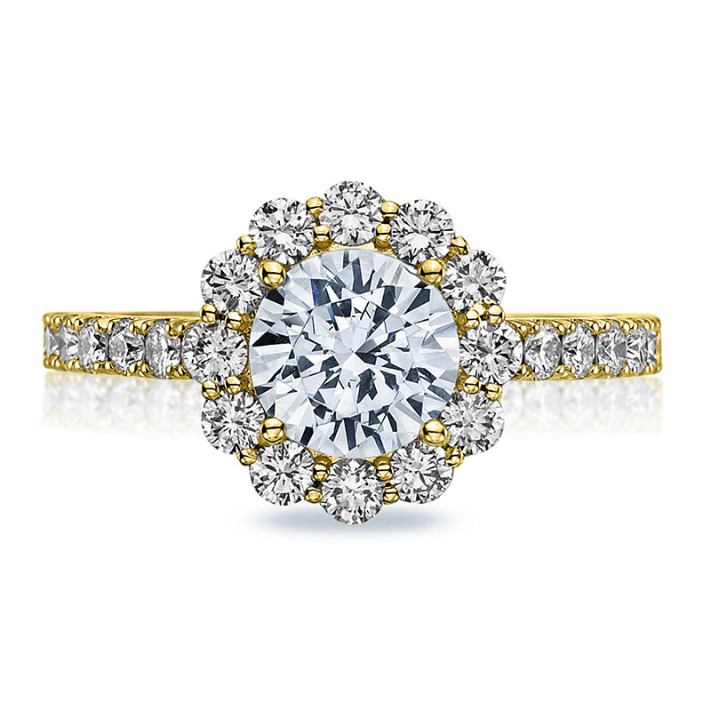 Tacori 37-2RD7.5 Diamond Half Way Yellow Gold Engagement Full Bloom Setting Top View